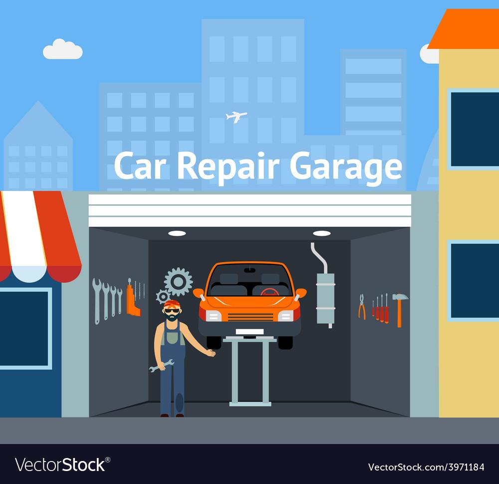 Cartooned car repair garage vector | Price: 1 Credit (USD $1)