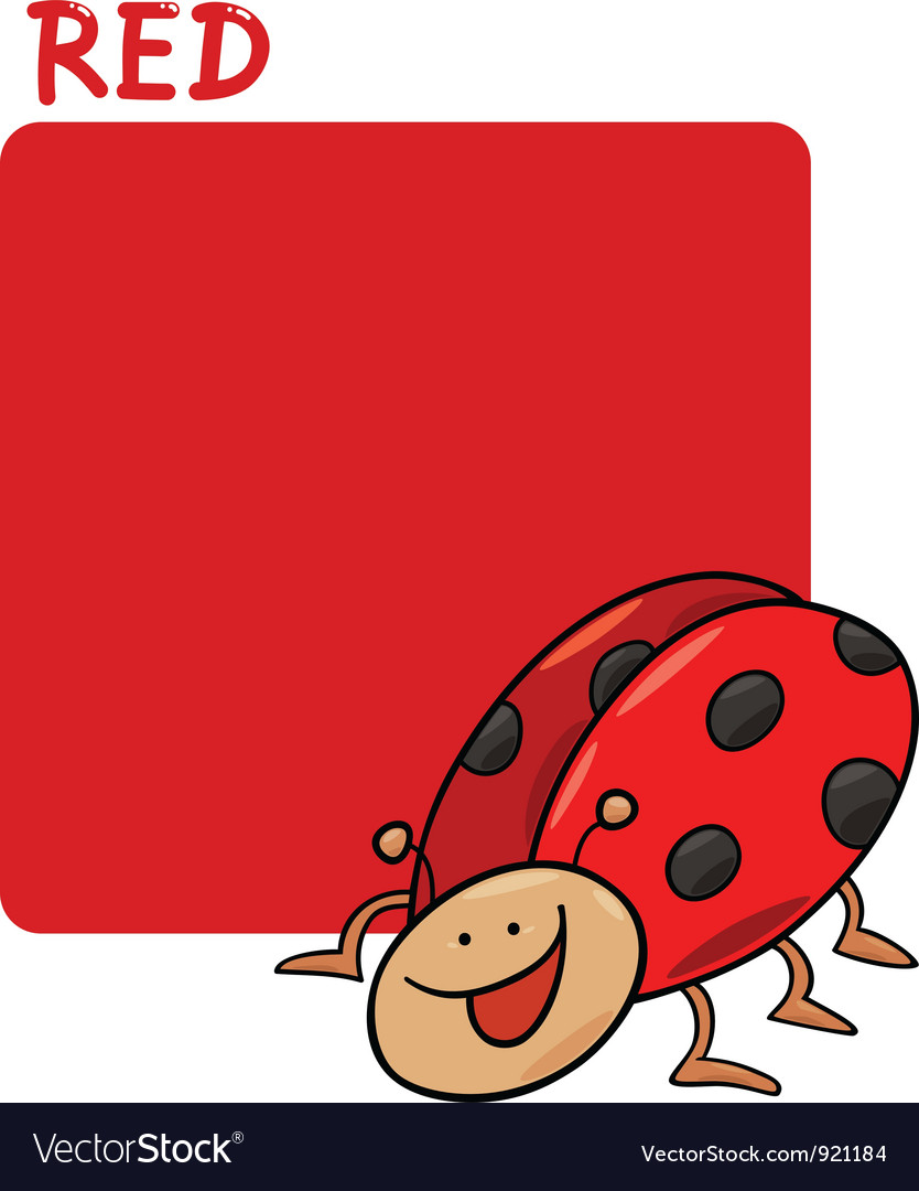 Color red and ladybug cartoon vector | Price: 1 Credit (USD $1)