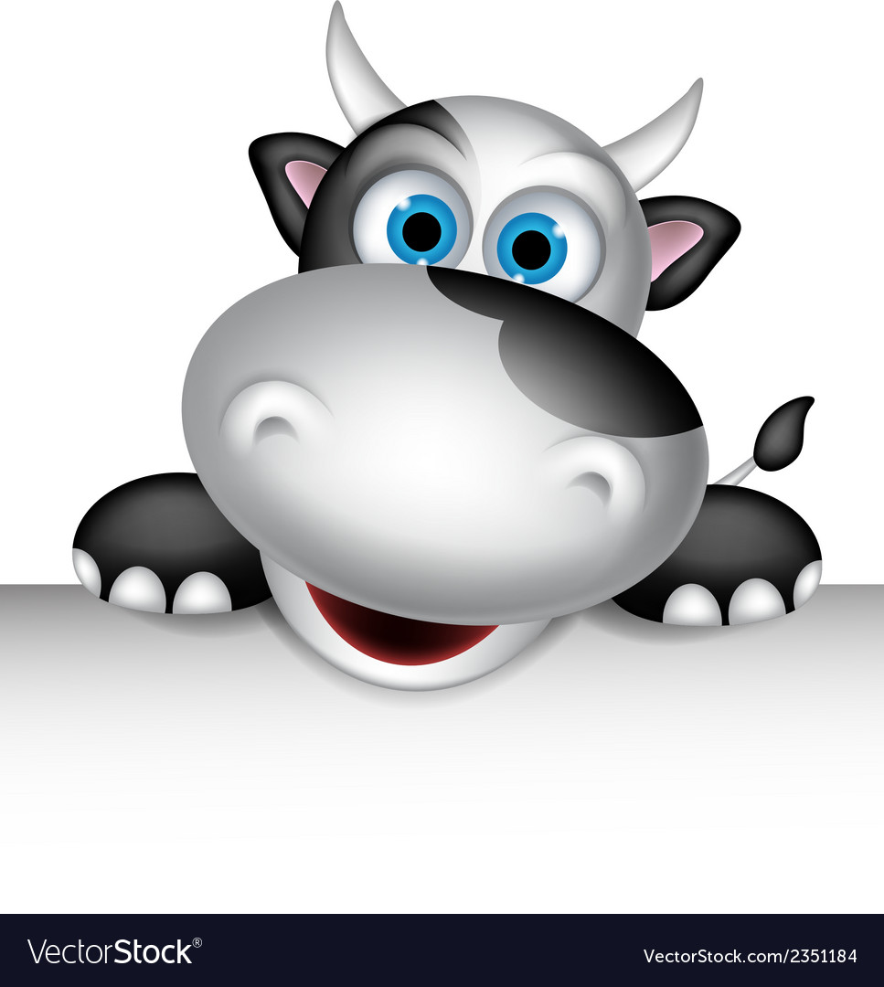 Cute cow cartoon with blank sign vector | Price: 1 Credit (USD $1)