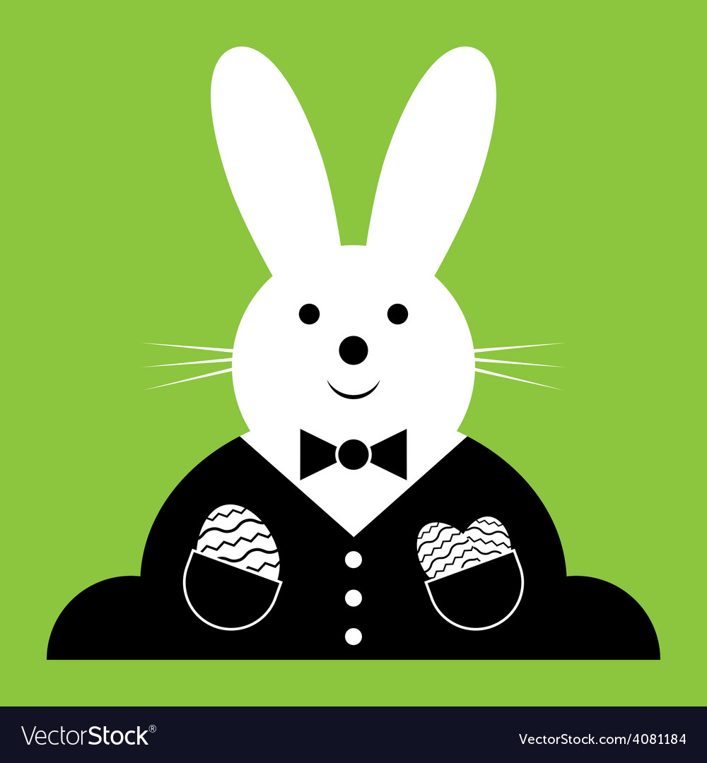 Easter bunny with suit and eggs vector | Price: 1 Credit (USD $1)