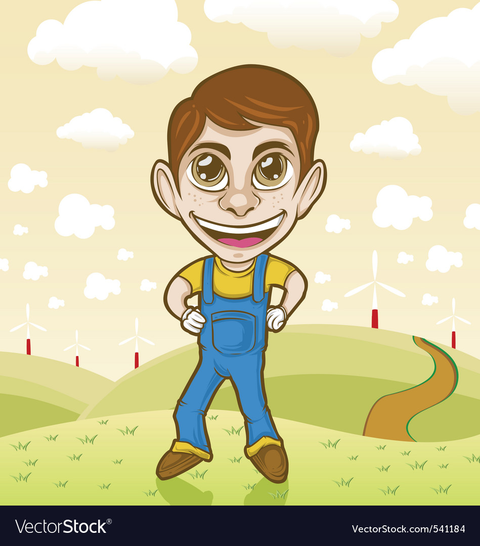 Farmer cartoon character vector | Price: 3 Credit (USD $3)