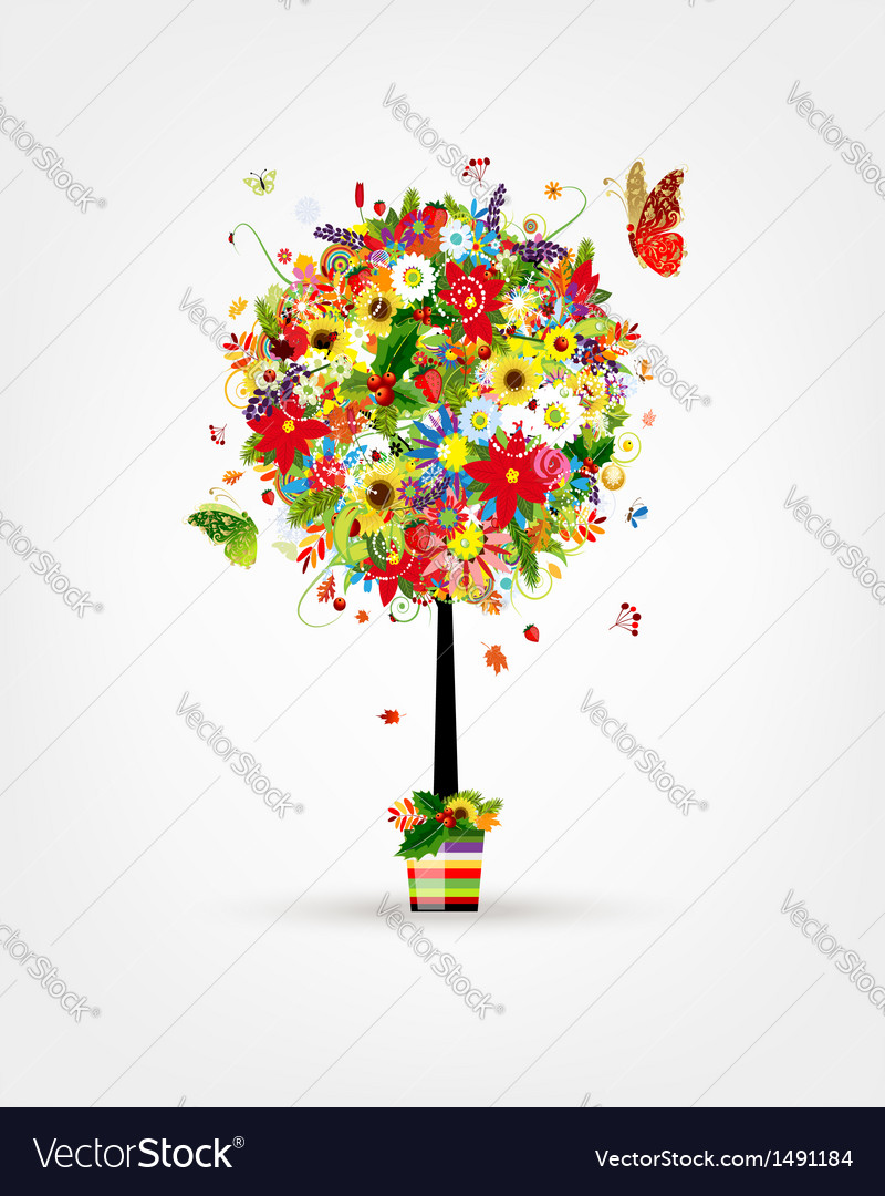 Four seasons concept art tree in pot for your vector | Price: 1 Credit (USD $1)