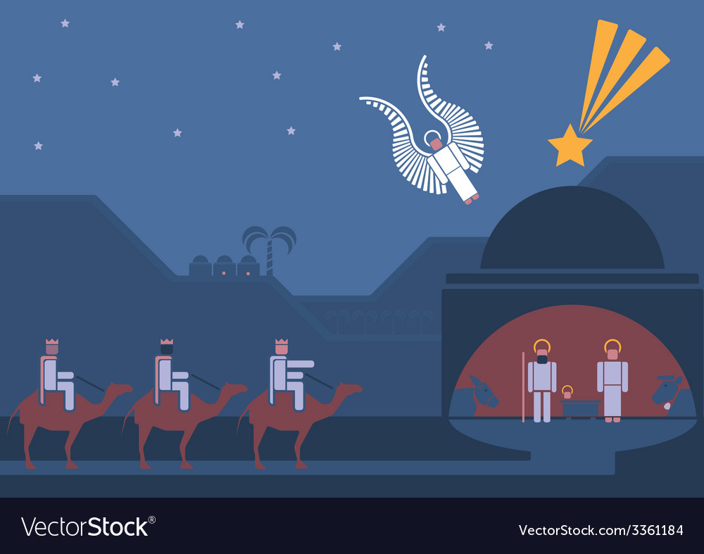 Nativity scene and the three wise men vector | Price: 1 Credit (USD $1)