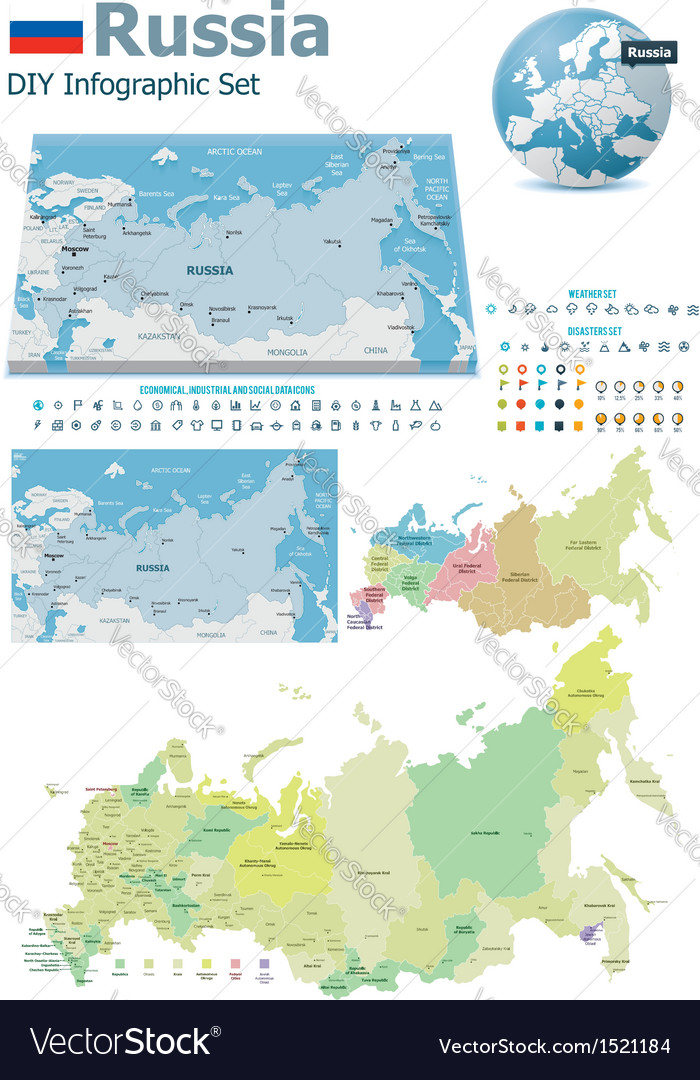 Russia maps with markers vector | Price: 3 Credit (USD $3)