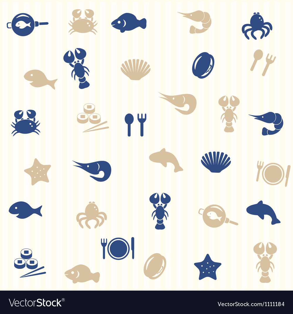 Sea food seamless pattern vector | Price: 1 Credit (USD $1)