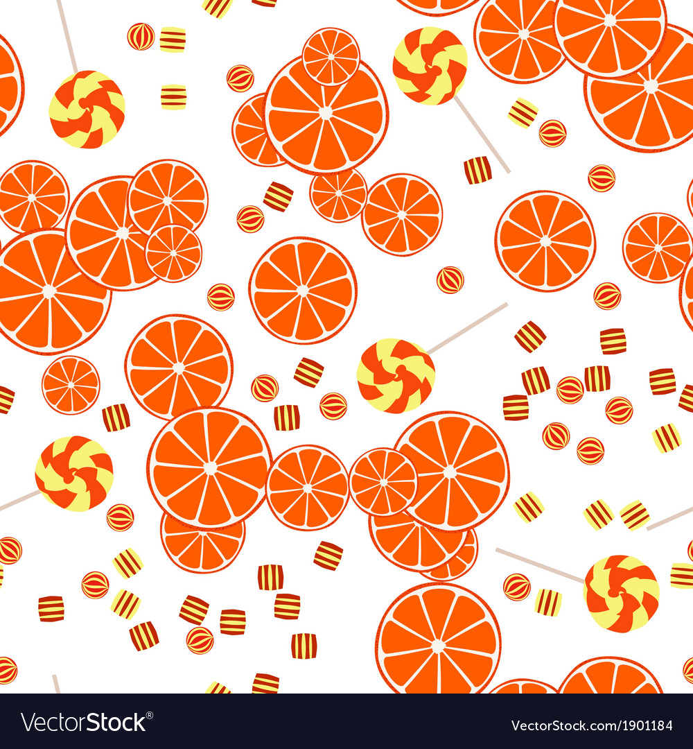 Seamless pattern of oranges slices and candy vector | Price: 1 Credit (USD $1)
