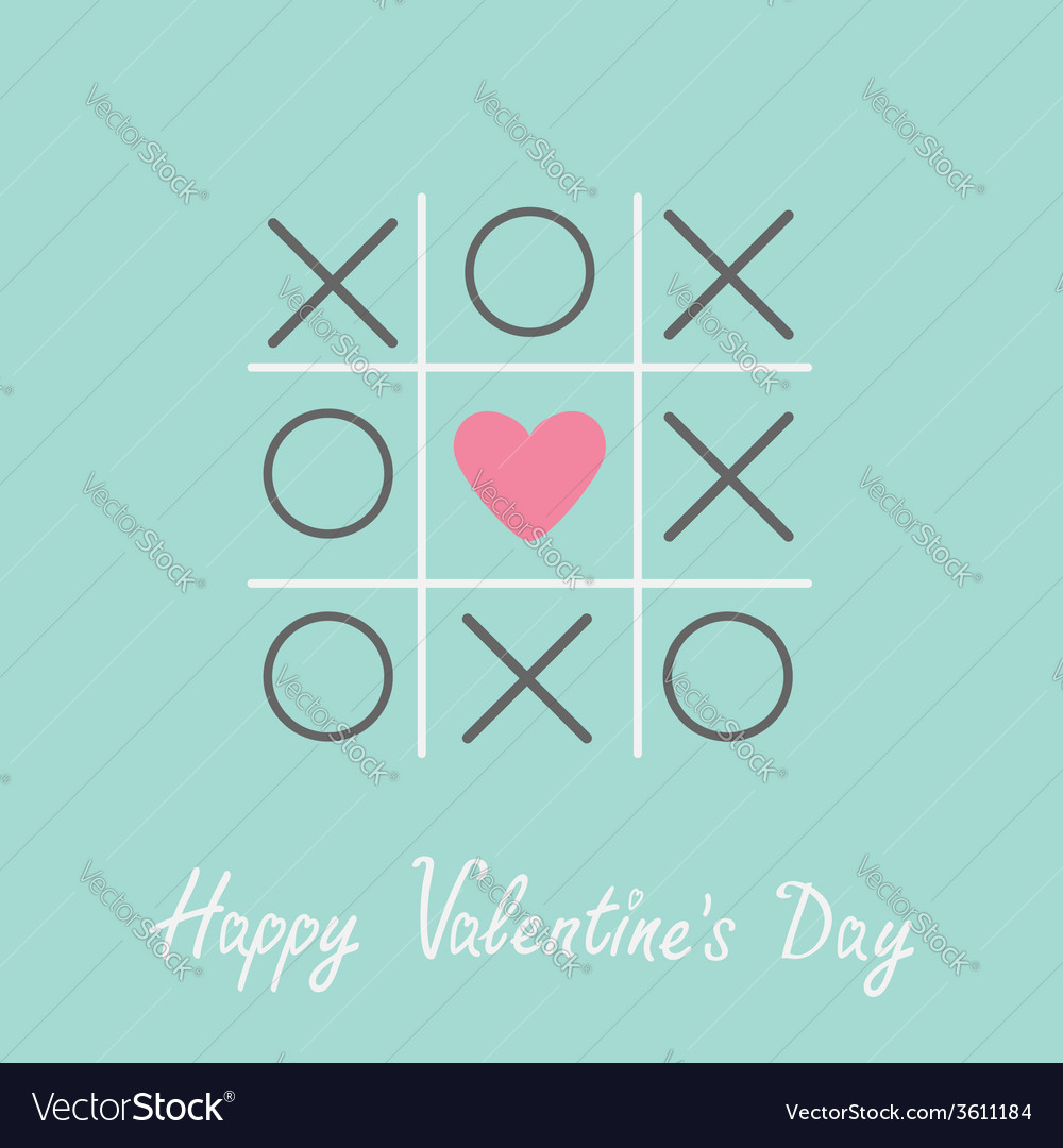 Tic tac toe game cross and heart valentines day vector | Price: 1 Credit (USD $1)