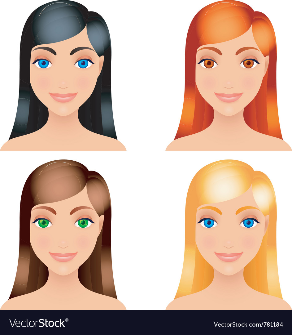 Women hair colors vector | Price: 1 Credit (USD $1)