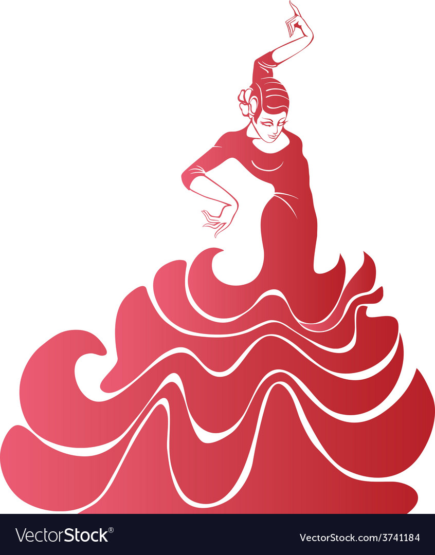 Young passionate woman dancing flamenco vector | Price: 1 Credit (USD $1)