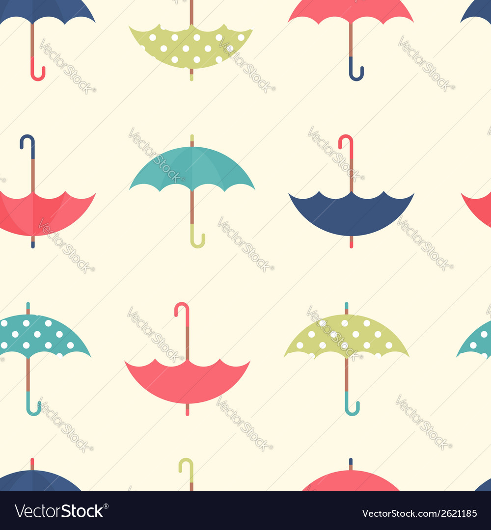 Autumn seamless pattern with a flat umbrellas vector | Price: 1 Credit (USD $1)