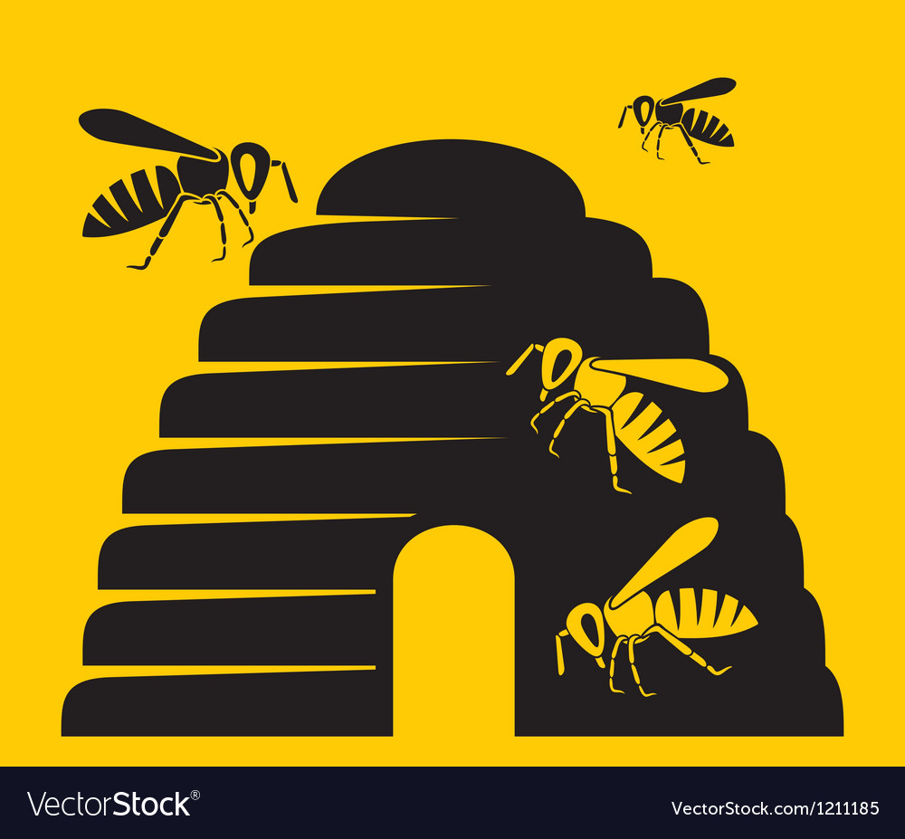 Bees and beehive icon vector | Price: 1 Credit (USD $1)