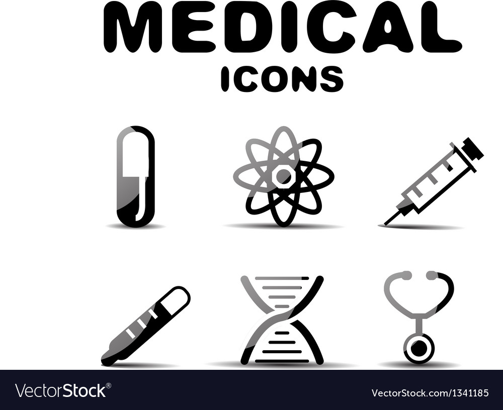 Black glossy medical icon set vector | Price: 1 Credit (USD $1)