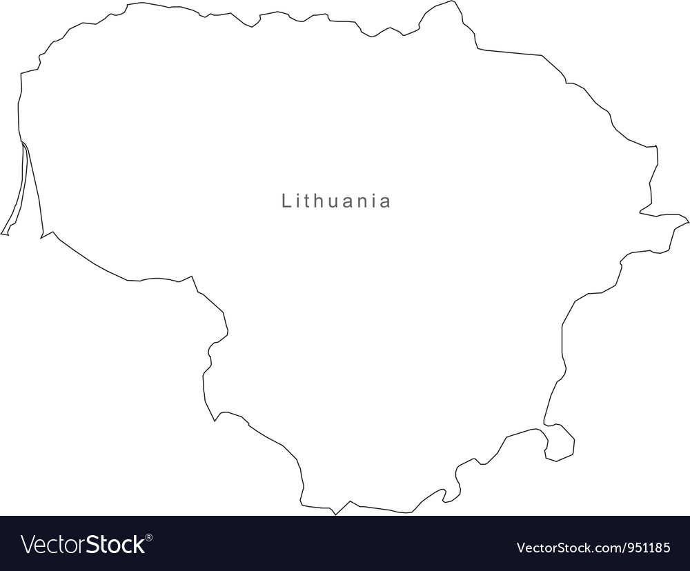 Black white lithuania outline map vector | Price: 1 Credit (USD $1)