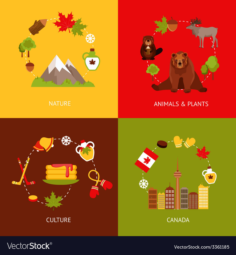 Canada flat icons set vector | Price: 1 Credit (USD $1)