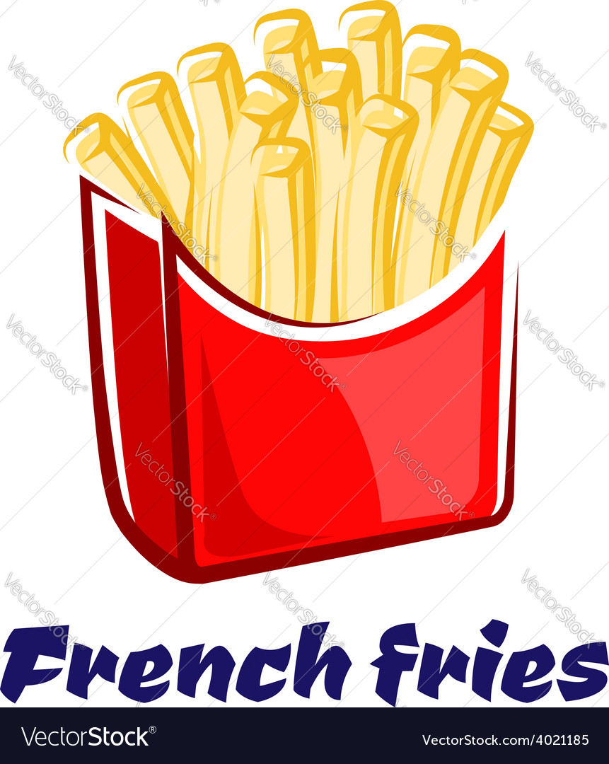 Cartoon french fries in red box vector | Price: 1 Credit (USD $1)