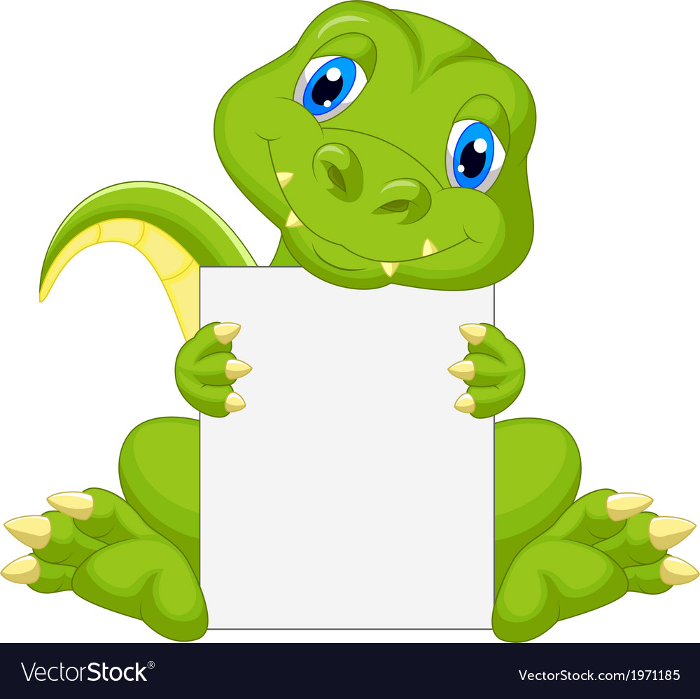 Cute dinosaur cartoon holding blank sign vector | Price: 1 Credit (USD $1)