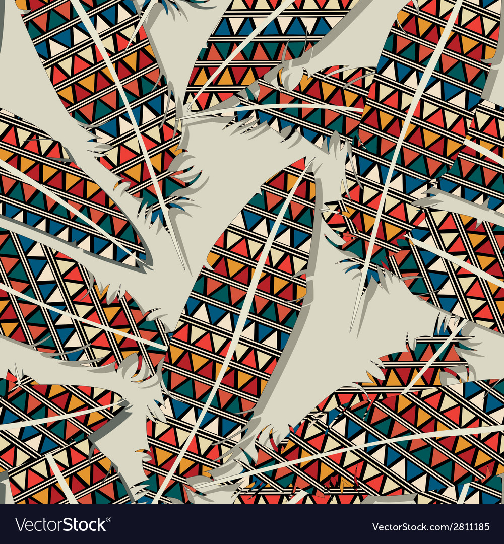 Ikat feather pattern 9 vector | Price: 1 Credit (USD $1)