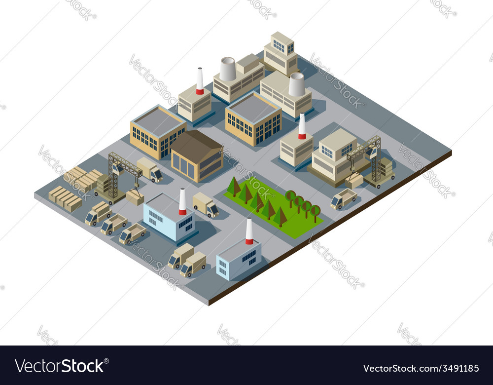 Isometric factory vector | Price: 1 Credit (USD $1)