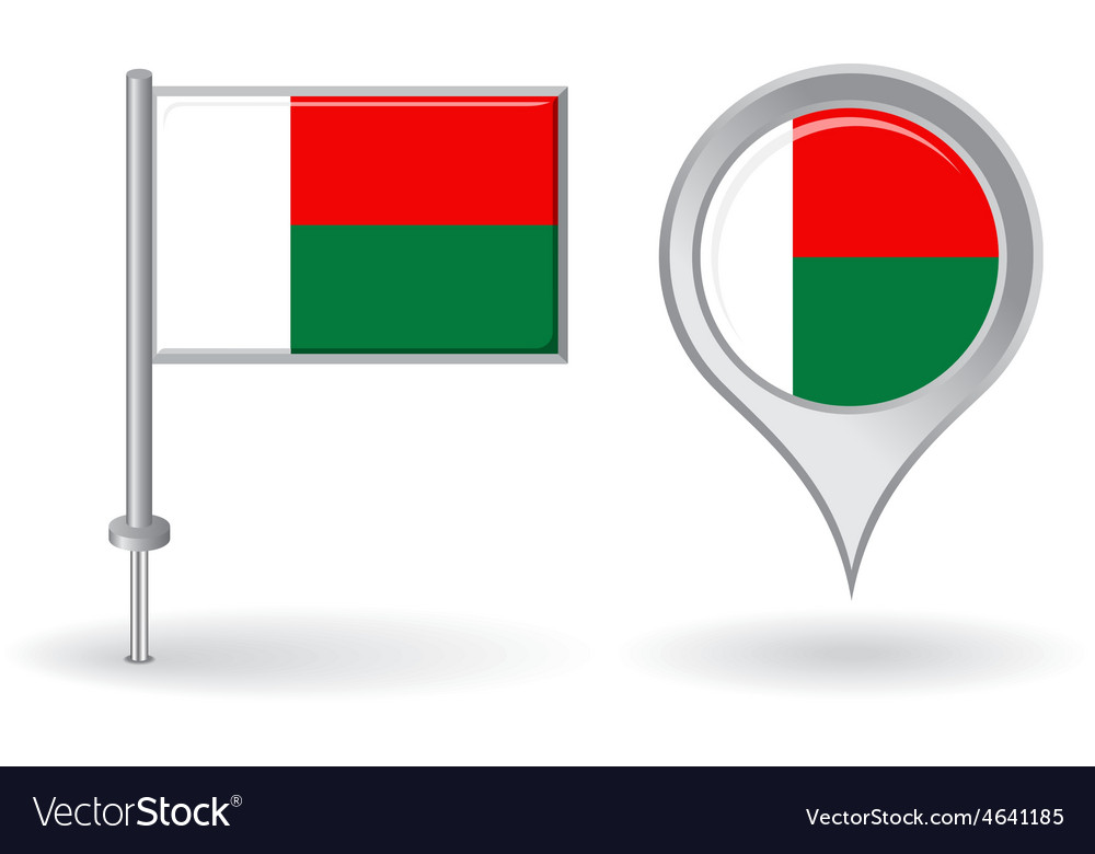 Madagascar pin icon and map pointer flag vector | Price: 1 Credit (USD $1)