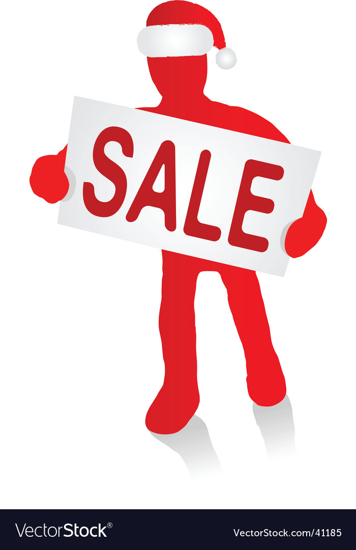 Man with christmas sale sign vector | Price: 1 Credit (USD $1)