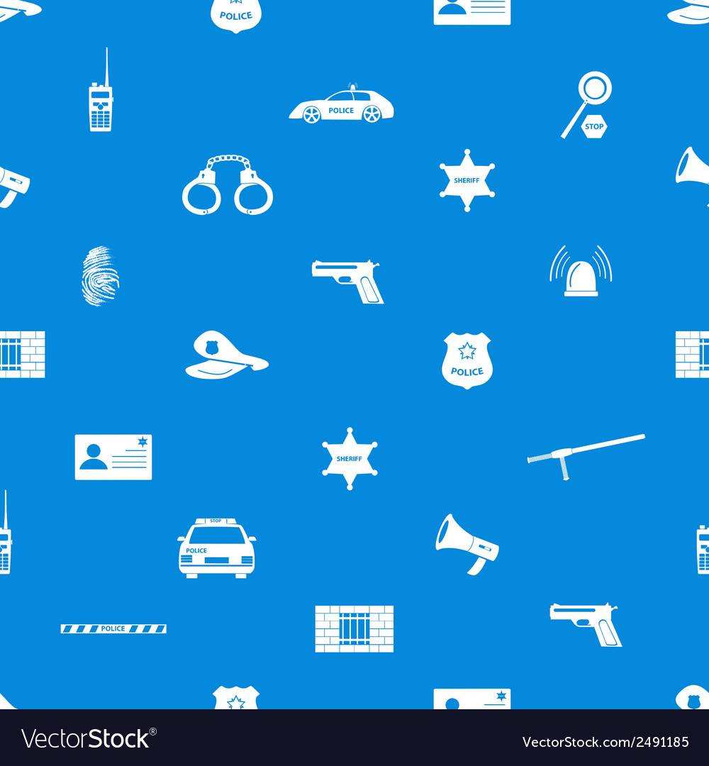 Police icons blue and white seamless pattern eps10 vector | Price: 1 Credit (USD $1)