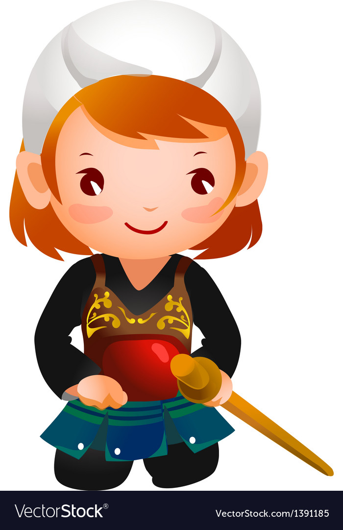 Portrait of a girl wearing kendo uniform vector | Price: 3 Credit (USD $3)