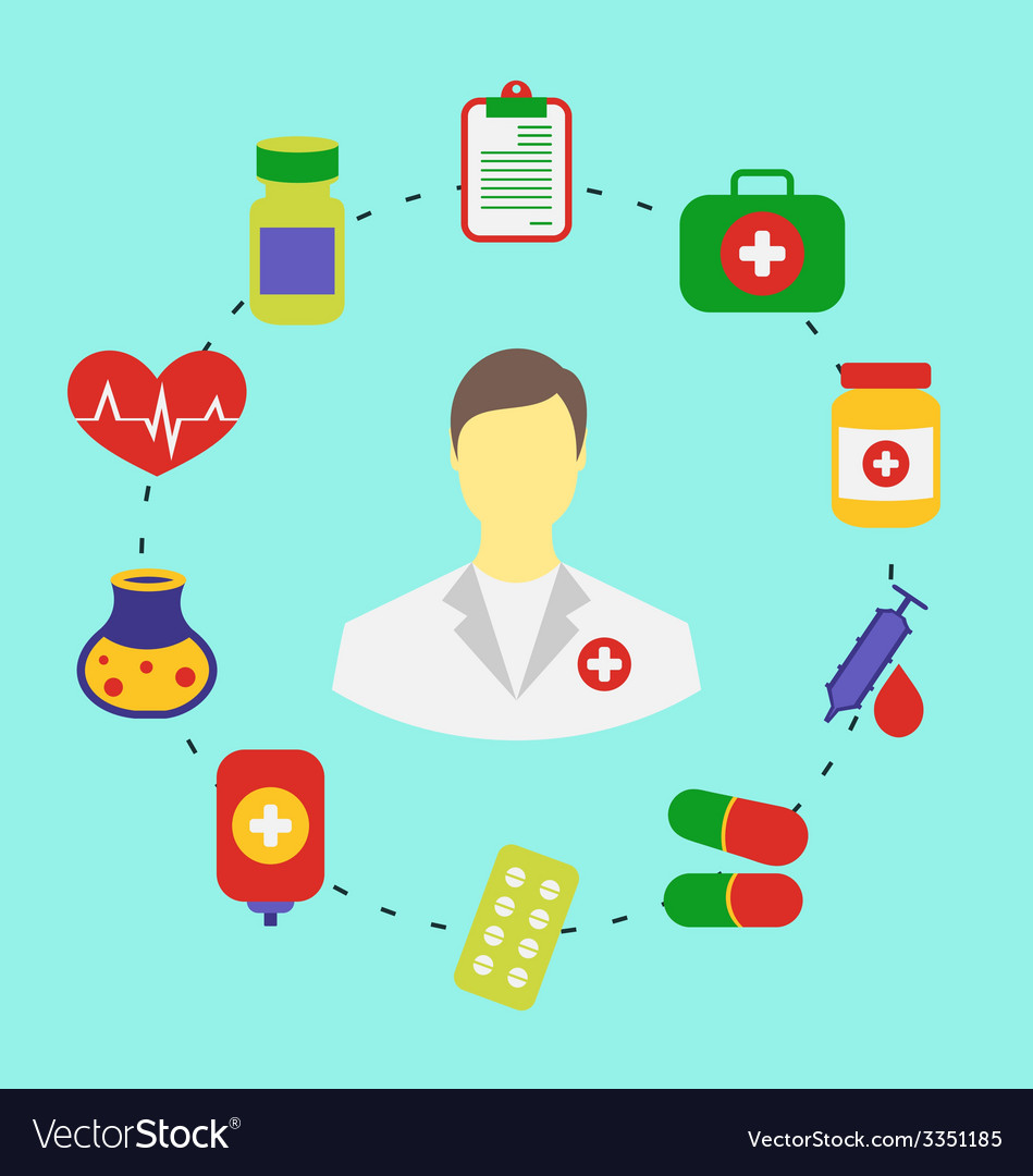 Set flat medical icons for web design - vector | Price: 1 Credit (USD $1)