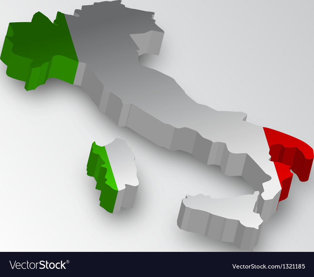 Three dimensional map of italy in flag colors vector | Price: 1 Credit (USD $1)