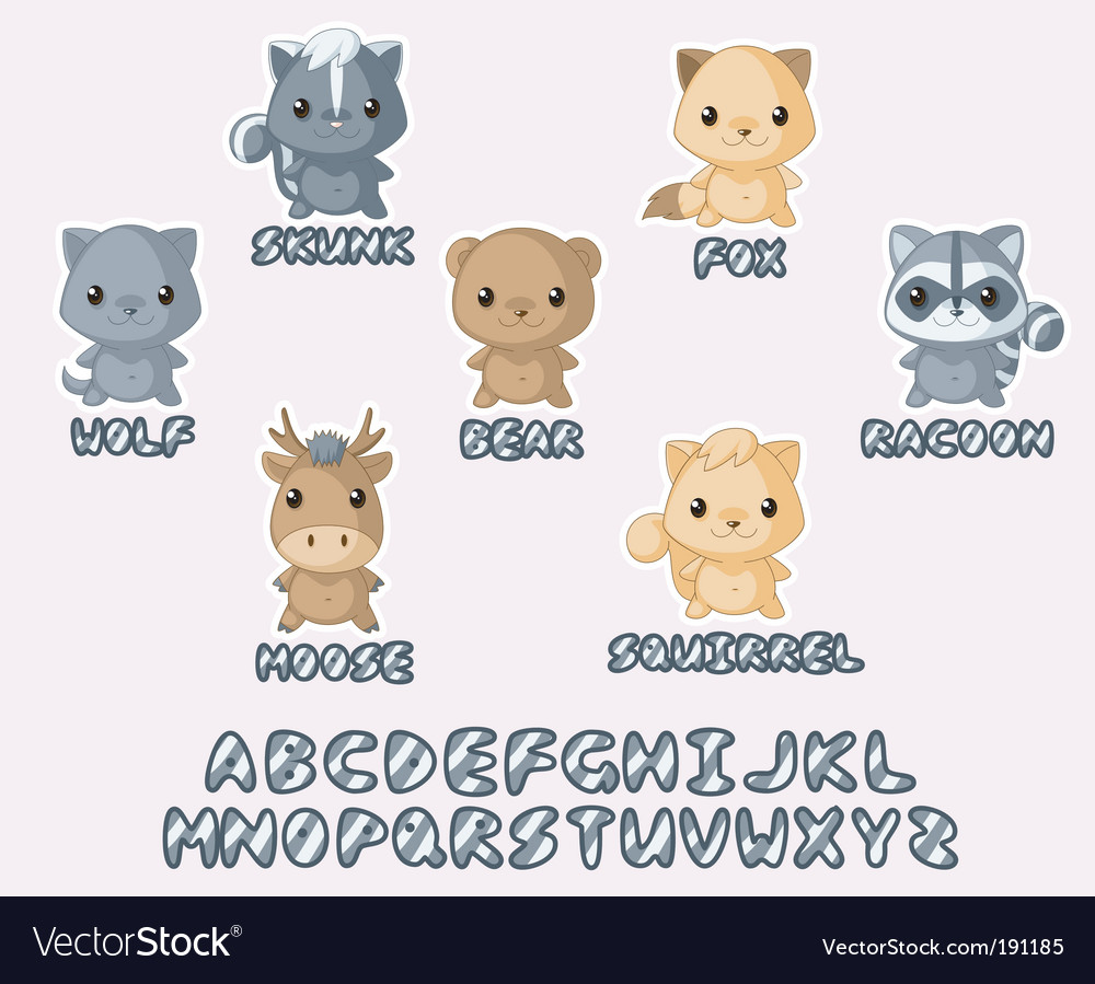 Wild animals kawaii set vector | Price: 3 Credit (USD $3)