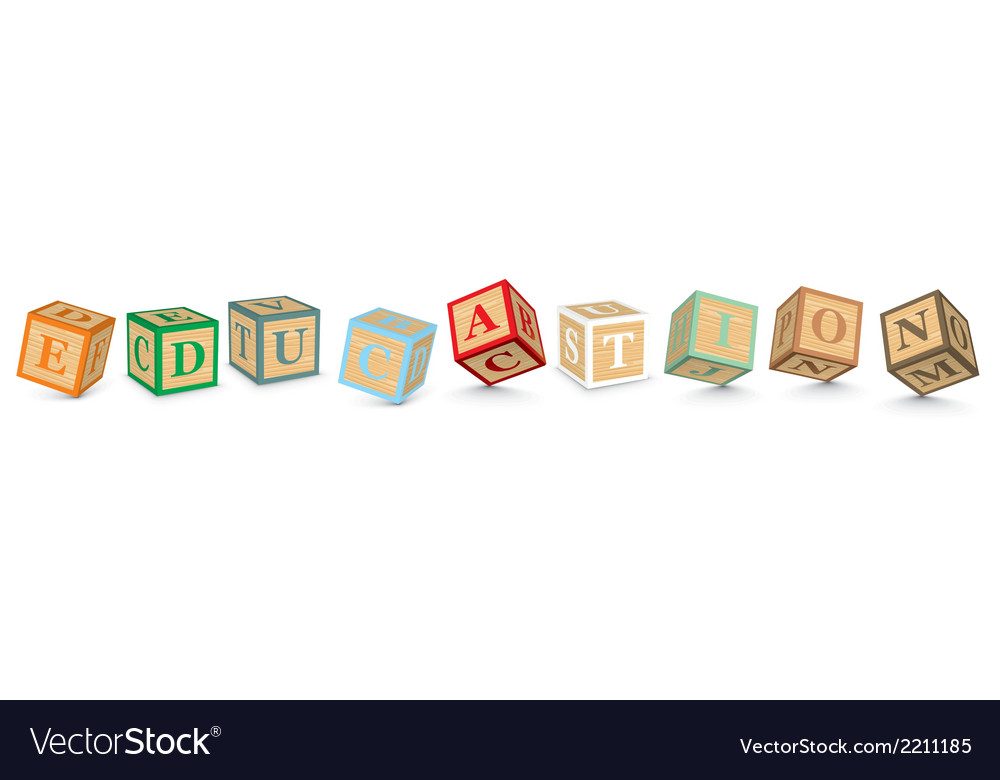 Word education written with alphabet blocks vector | Price: 1 Credit (USD $1)