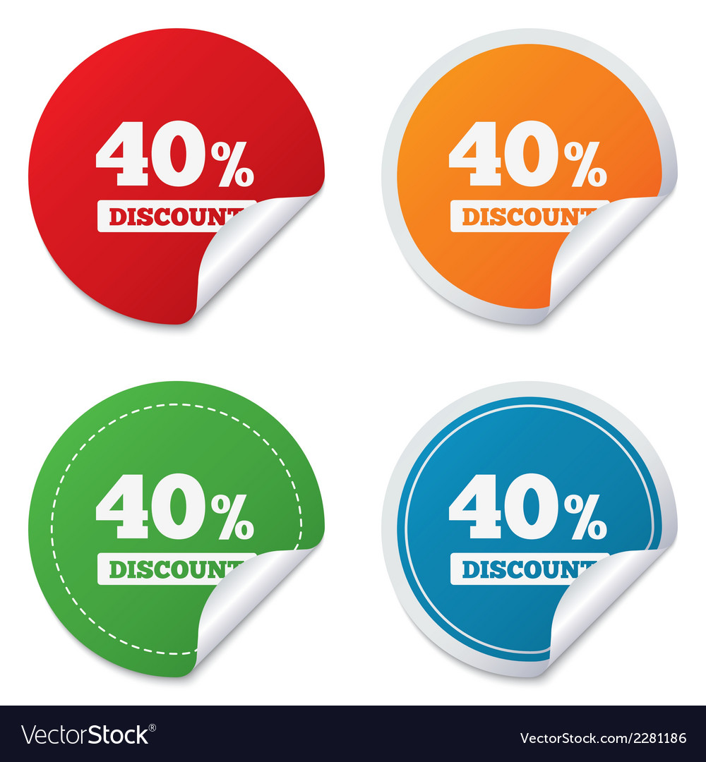 40 percent discount sign icon sale symbol vector | Price: 1 Credit (USD $1)