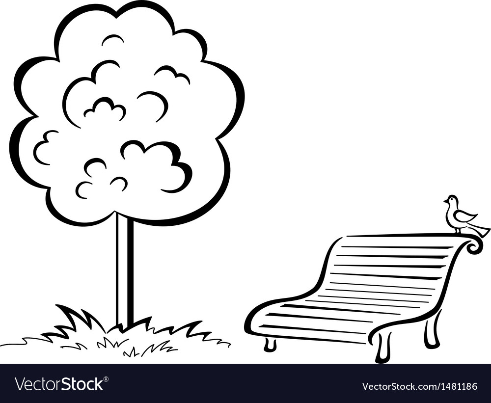 Bird on park bench and tree contour vector | Price: 1 Credit (USD $1)