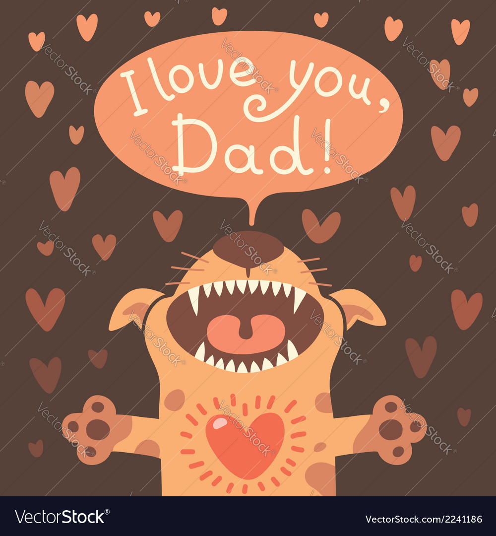 Card happy fathers day with a funny puppy vector | Price: 1 Credit (USD $1)