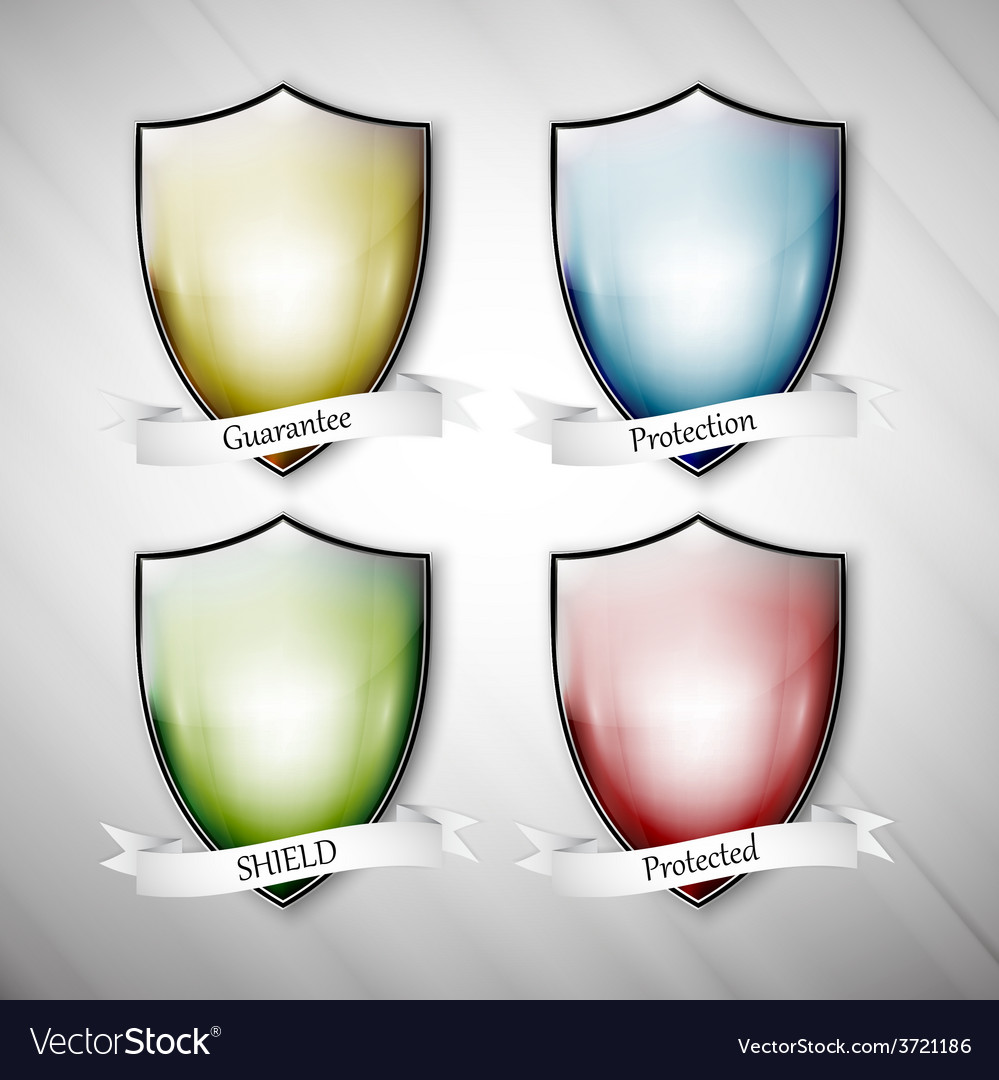 Empty isolated colored shields on dirty gray vector | Price: 1 Credit (USD $1)