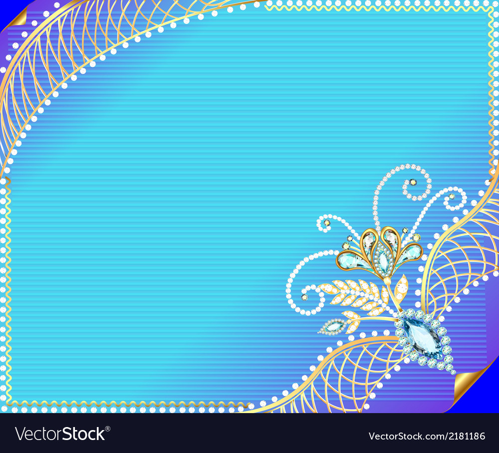 Frame background with precious stones vector | Price: 1 Credit (USD $1)