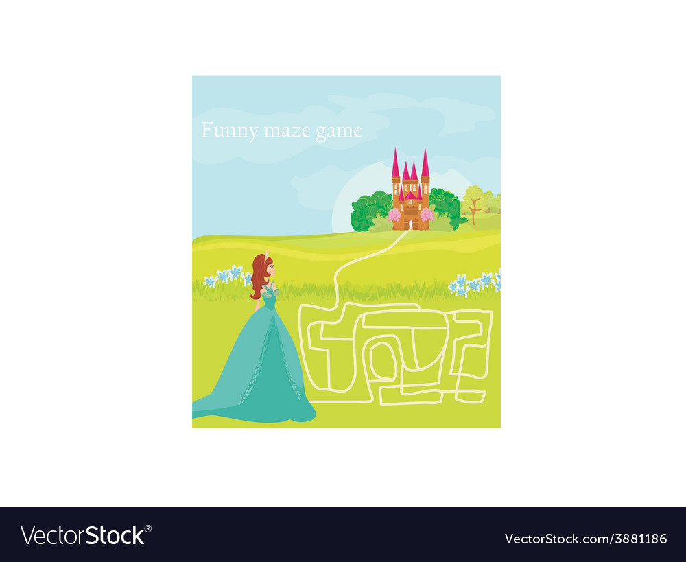 Funny maze game the beauty princess find the way vector | Price: 1 Credit (USD $1)