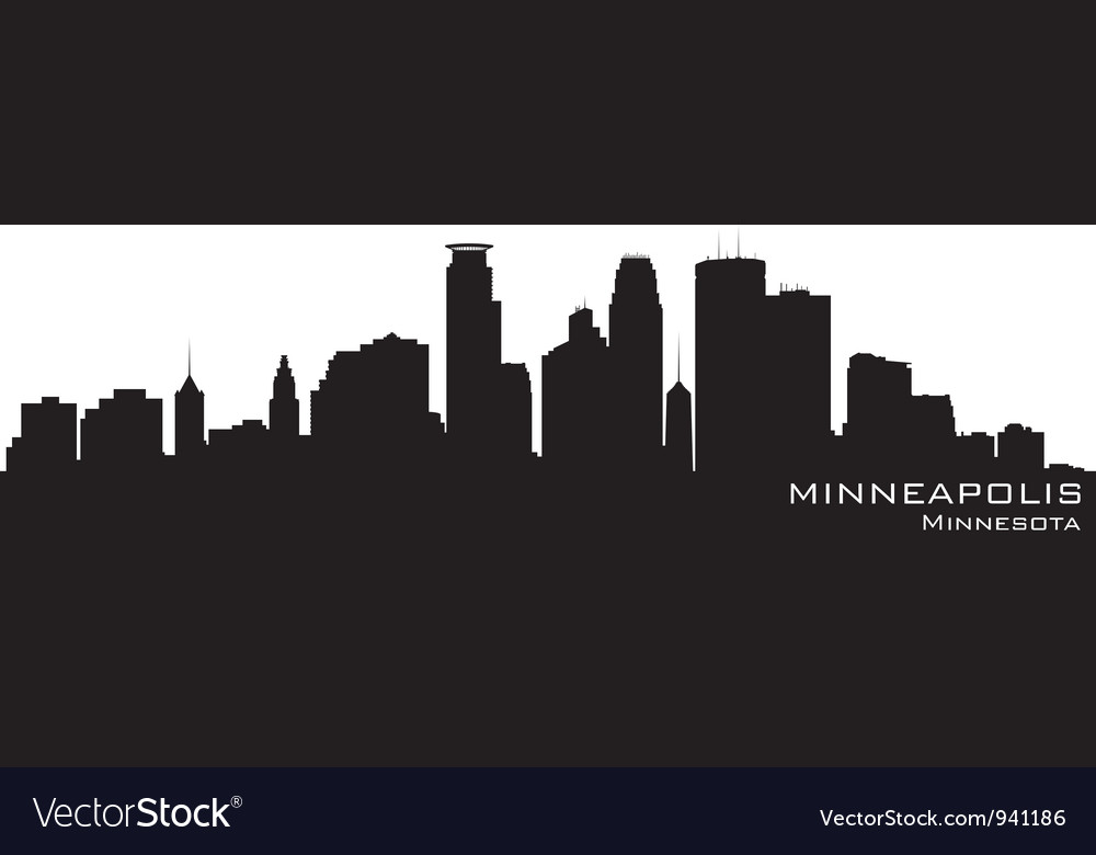 Minneapolis minnesota skyline detailed silhouette vector | Price: 1 Credit (USD $1)