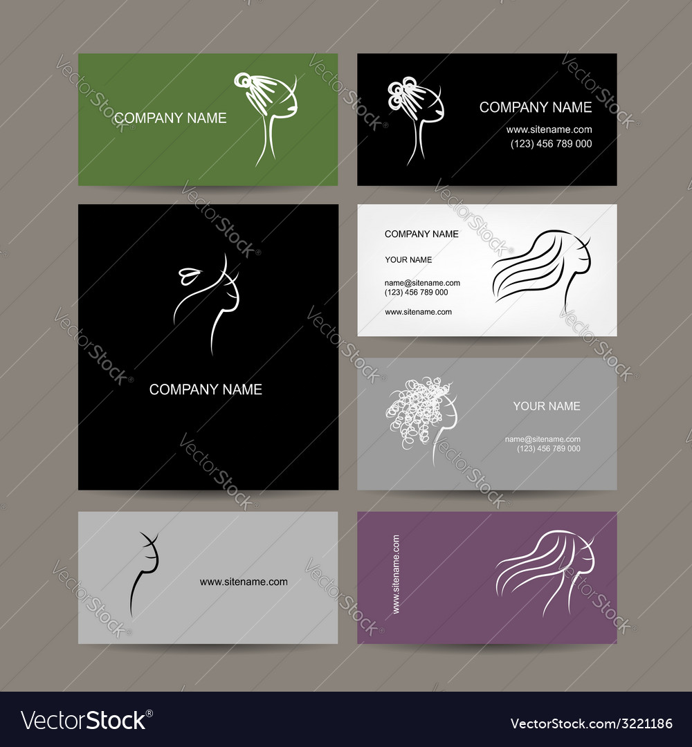 Set of business cards design female hairstyle vector | Price: 1 Credit (USD $1)