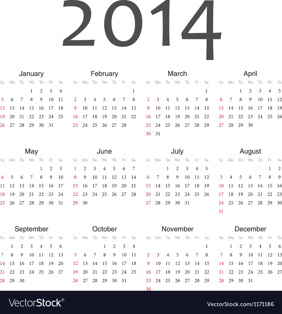 Simple vactor calendar 2014 vector | Price: 1 Credit (USD $1)