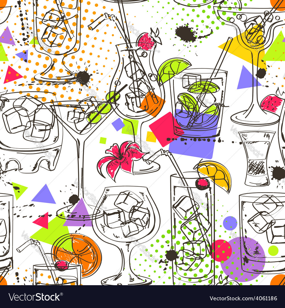 Sketch seamless pattern of cocktails vector | Price: 1 Credit (USD $1)