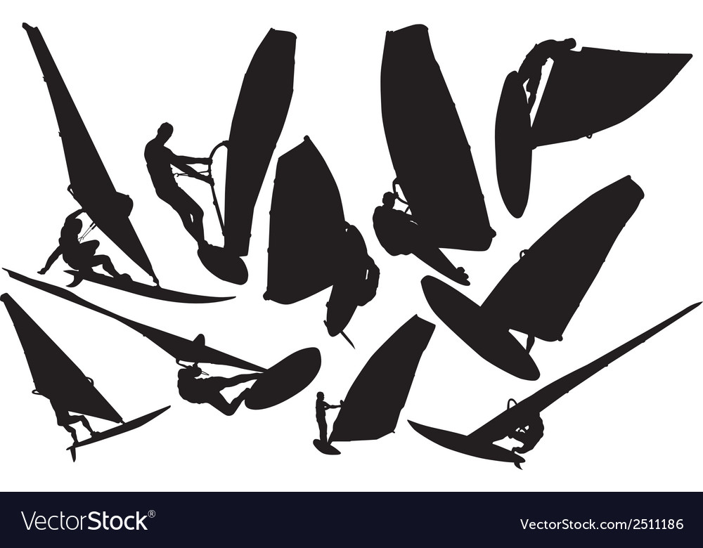 Windsurfing silhouette vector | Price: 1 Credit (USD $1)