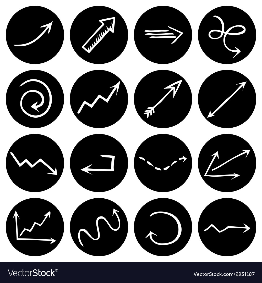 Black and white round pictograms vector | Price: 1 Credit (USD $1)
