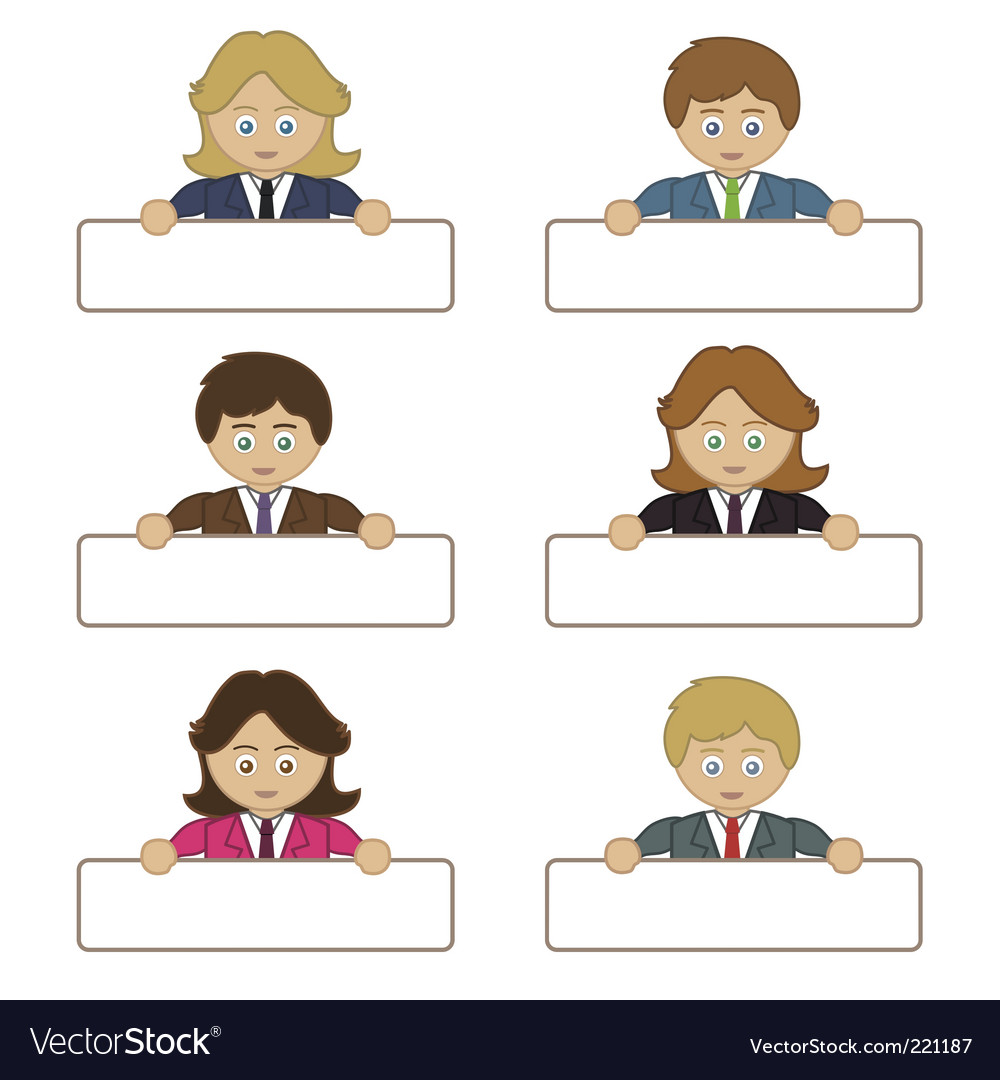 Business people holding name tags vector | Price: 1 Credit (USD $1)