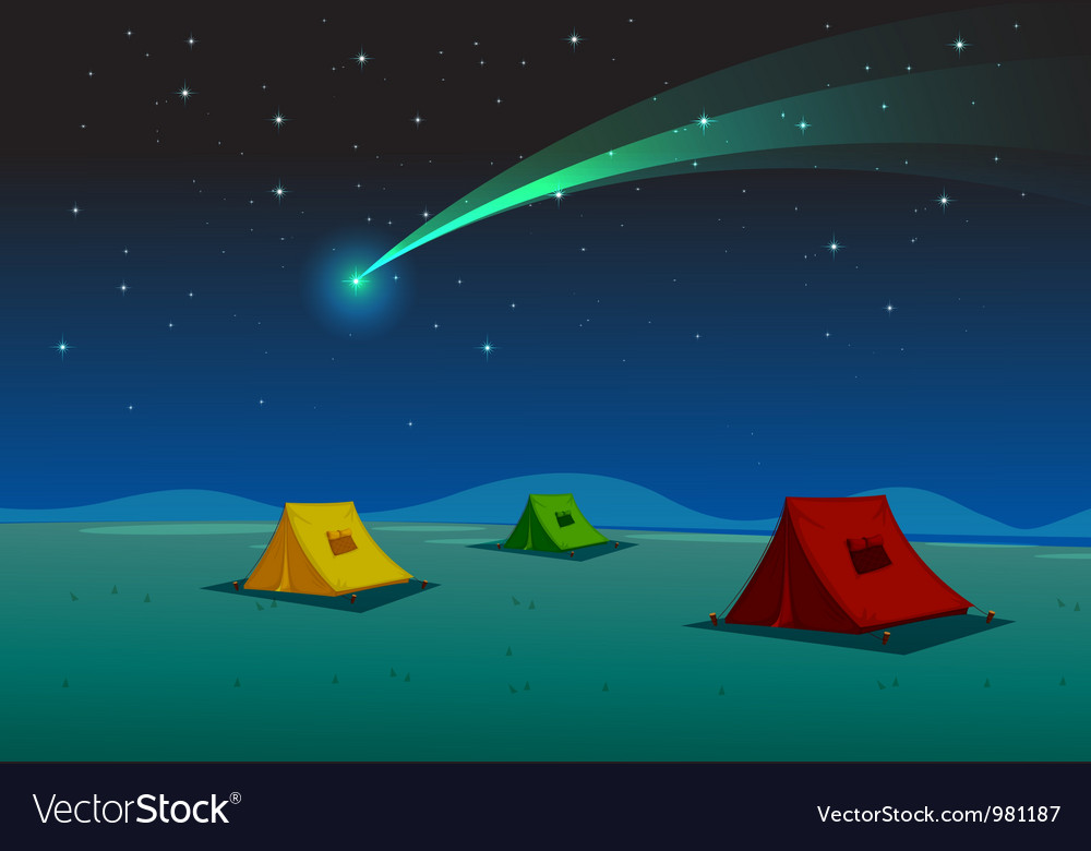 Camping under comet vector | Price: 3 Credit (USD $3)