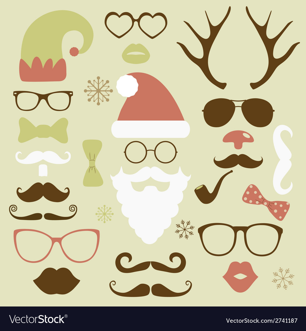 Christmas fashion silhouette set hipster style vector
