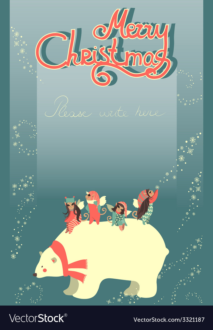 Cute angels and polar bear celebrating christmas vector | Price: 1 Credit (USD $1)
