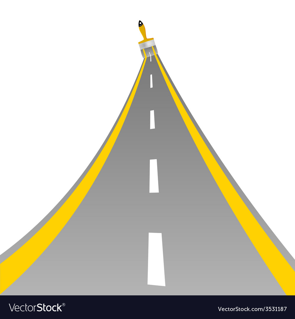 Road with paint brush art vector | Price: 1 Credit (USD $1)