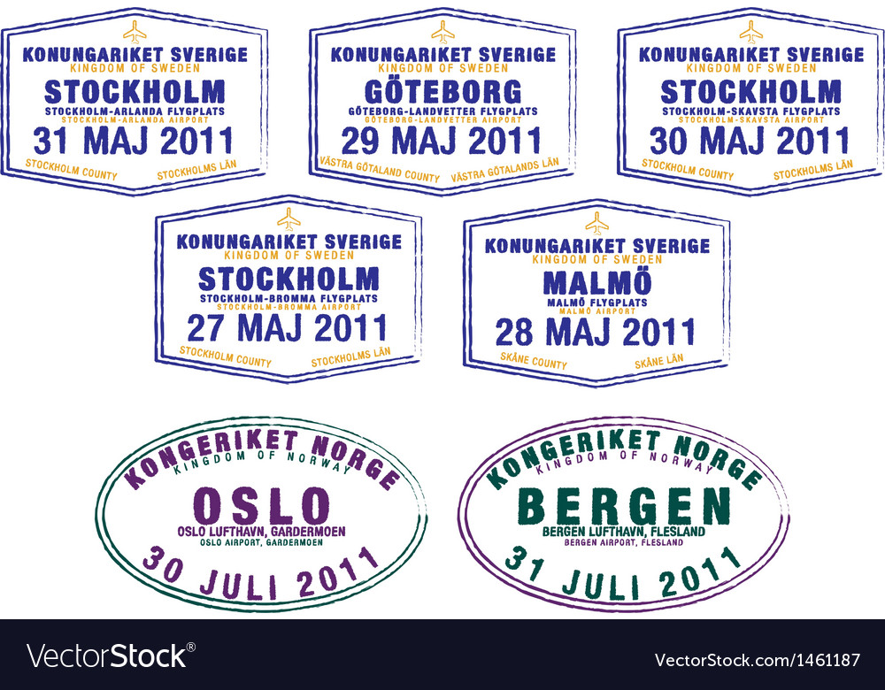 Scandinavia passport stamps vector | Price: 1 Credit (USD $1)