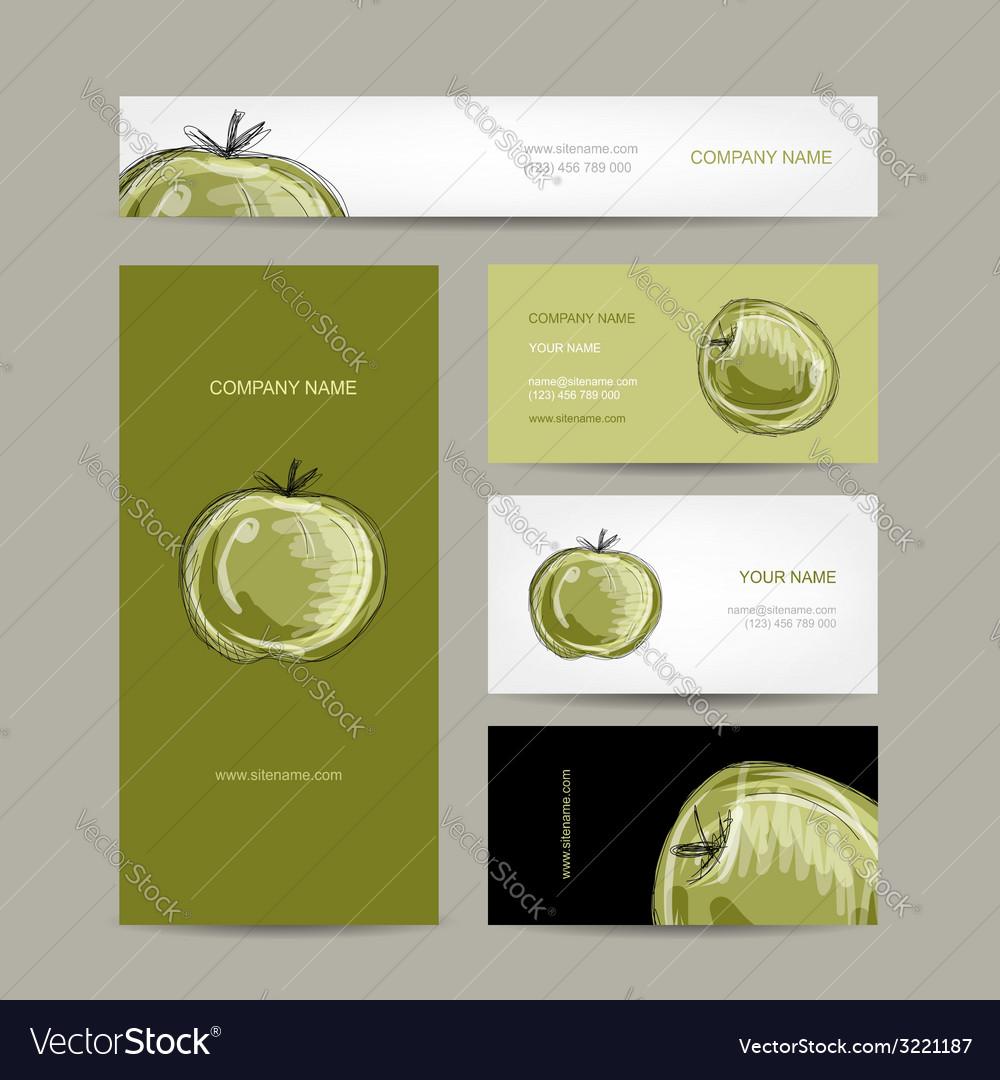 Set of business cards design apple sketch vector   Price: 1 Credit (USD $1)