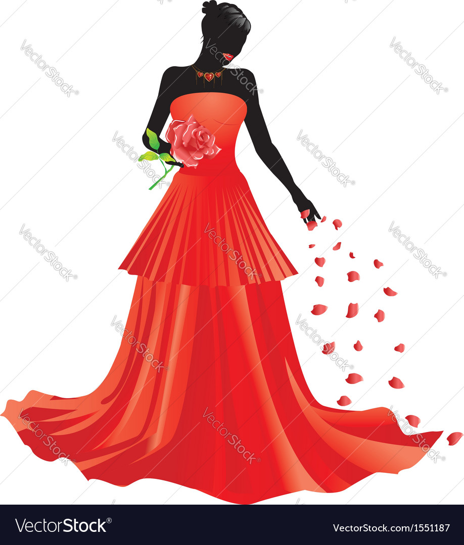 Silhouette of girl with rose vector | Price: 1 Credit (USD $1)